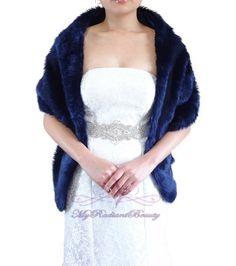 Bridal Navy Blue Faux Fur Long Wrap Navy Blue by MyRadiantBeauty, $49.99