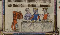Bas-de-page scene of Salome dancing on her hands before the feasting of Herod and Herodias from the Taymouth Hours, Yates Thompson MS 13, f. 106v