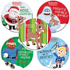 Rudolph, Bumble, Santa, Clarice, Hermey, Misfit Toys, Burl Ives, 50 Years, Holiday, Christmas, Seals, Stickers