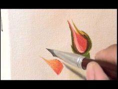 Pintura em tela - como pintar um botao de rosa - iniciante