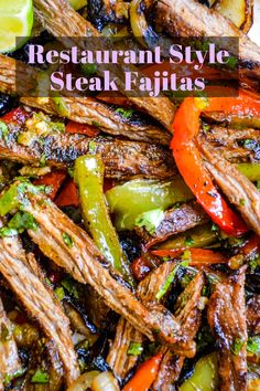 Steak Fajitas are a Tex-Mex restaurant staple. Made with juicy grilled meat, charred peppers and onions, and served with warm tortillas, SOO SOO GOOD. Mexican Food Recipes, Beef Recipes, Dinner Recipes, Cooking Recipes, Healthy Recipes, Yummy Recipes, Recipies, Beef Fajita Recipe, Beef Fajitas