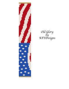 Peyote Bracelet Pattern  Old Glory Buy 2 Patterns  by KFSDesigns, $6.50