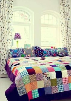 When you say patchwork the first thing that comes to mind is Grandma's patchwork quilt. While vintage quilts are lovely, the patchwork I a. Decoration Shabby, Patchwork Quilting, Patchwork Bedspreads, Patchwork Ideas, Patchwork Blanket, Quilt Making, Interior Inspiration, Color Inspiration, Sweet Home