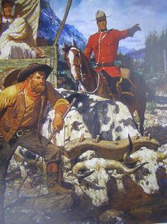 RCMP Canadian Mountie Wagon Train Oxen by Friberg