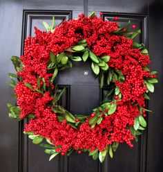 Red Cranberry Wreath, Cranberry Holiday Wreath, Year Round Red Wreath with…