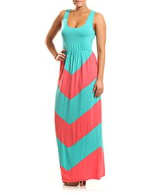 Look at this #zulilyfind! Aqua & Pink Trio Zigzag Maxi Dress by Coveted Clothing #zulilyfinds