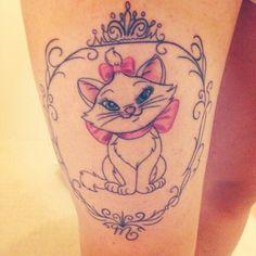 Disney Marie thigh tattoo