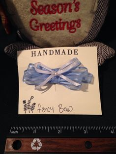 Baby blue and white hair bow, Bunny Roots Bows