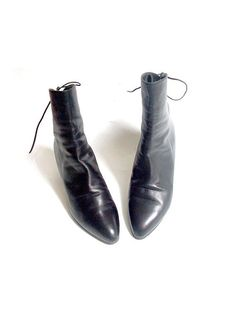 90s italian LOW BOOTS black leather 7us by lesclodettes on Etsy, $79.00