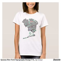 #Queens New York #Typography Design T-Shirt. #NYC #Calligram