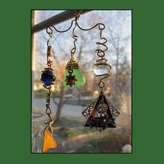 Brass Eye Catcher With Marbles Jewels and Sea Glass  | PattyAnn - Metal Craft on ArtFire