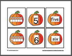 Charlotte's Clips and Kindergarten Kids  Freebie Pumpkin Math Cards 1 to 10