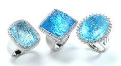 Carved Blue Topaz Rings - Rina Limor
