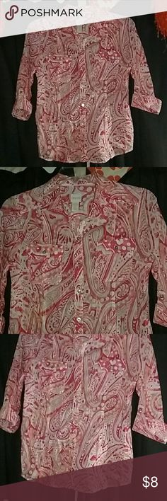 💗Chico's Top Pretty and Comfortable 100% cotton Chico's Tops Button Down Shirts