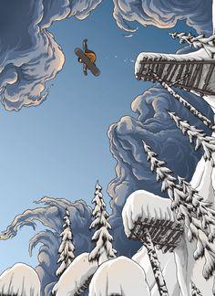 Adam Haynes (stickfort) Red Bull Ultra Natural Snowboarding illustration