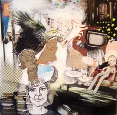 Se, den der tid flyver - 50 x 50. Et originalt maleri / collage af Solveig Mønsted Hvidt.