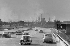 This 1951 photo shows cars headed along the NJ Turnpike toward Linden with the Esso refinery the background. Courtesy of Peter Stackpole Essex County, Bergen County, Old Photos, Vintage Photos, Exit 13, Delaware Valley, Oil Refinery, Tri State Area, The Good Old Days