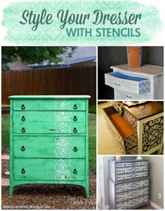 Style your Dresser with Stencils via Paint + Pattern - DIY Painted Furniture Home Decor Projects with Royal Design Studio wall stencils