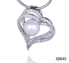 $3.58  25x21mm 925 Sterling Silver Lover Hearts Charms Dangle Pearl Necklace Pendant