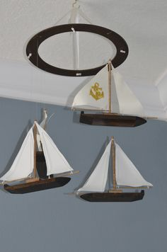 Sailboat Nautical Nursery Mobile - Wood Fabric and Anchor Sailboat Nursery, Nautical Nursery, Baby Shower Parties, Baby Shower Gifts, Baby Showers, Nursery Design, Baby Decor, Beach Themes, Handmade Wooden