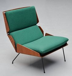 Georges van Rijck; Molded Teak Plywood and Enameled Metal Lounge Chair for Beaufort, 1959.