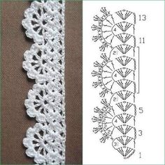 Irina: Crochet Stitches Gallery Source by Free Crochet pattern for Lace Edging 3 Rows Crochet Patterns Stitches Pictures on request narrow crochet hook c … this lace grows as long as you go Borde a crochet Crochet Boarders, Crochet Lace Edging, Crochet Diagram, Crochet Chart, Thread Crochet, Crochet Trim, Love Crochet, Lace Knitting, Knitting Stitches