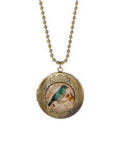 Goldtone Bluebird Locket Necklace by Bubbly Bows #zulily #zulilyfinds