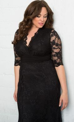 Curvalicious Clothes::Plus Size Dresses::Screen Siren Lace Gown- Onyx
