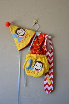 1st birthday party Monkey smash cake outfit Baby boys Curious George outfit
