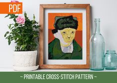 Beautiful and funny cross-stitch pattern! Amaze someone close and give a gift of art and crazy cross-stitch skills. You can do it! Click on the link bellow to get your chart now! Funny Cross Stitch Patterns, Grumpy Cat, Van Gogh, Cross Stitching, Palette, Symbols, Chart, Link, Artwork
