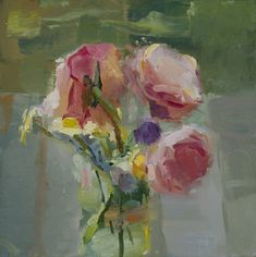 Christine Lafuente, Peonies in a Jar, oil on mounted linen, 12 x 12 inches