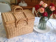 """$44+16. 15"""" long x 12 1/2"""" wide x 12 1/2"""" tall. Vintage Wicker Picnic Basket with Plate, Bowls and Cups Cottage Shabby Chic Style at Retro Daisy Girl"""