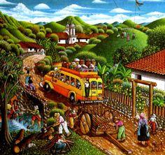 PINTORES LATINOAMERICANOS-JUAN CARLOS BOVERI: Pintores Hondureños: ROQUE ZELAYA Guatemalan Art, Colombian Culture, Art Cube, San Gil, Honduras Travel, Haitian Art, Cottage Art, Country Landscaping, Vintage Drawing