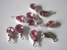 10 Pink Acrylic Rhinestone Teardrop Charms, 13x6mm, Jewelry Supplies by InspireInMotion on Etsy