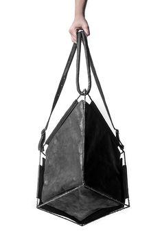 Black leather bag, avant garde fashion accessories // Minoar