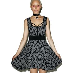 Killstar Sadie Star Skater Dress (€66) ❤ liked on Polyvore featuring dresses, strappy dress, star dress, graphic dresses, flared skirt and sleeveless skater dress
