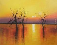 Sunset trees & water Painting by 2010
