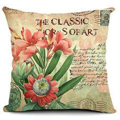 Rural Butterfly & Flower Cushion Cover Cotton Linen Throw Pillow Case Home Decor