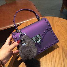 f4d9685902b8 TekiEssica Satchel Rivets Women Bag Clear Jelly Luxury Bag Matt Candy Color Tote  Bag Designer Messenger Crossbody Bag