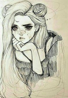 a sketch of a girl w long hair drawings art - Art drawings Girl Hair sketch wlong # Girl Drawing Sketches, Hair Drawings, Sketches Of Girls, Pencil Drawings, Drawing Style, Pencil Art, Cute Drawings Of Girls, Artwork Drawings, Sketches Of People