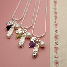Ballet Shoe and Heart Peridot Handmade Sterling Silver Necklace :: Fresh Purple Jewellery