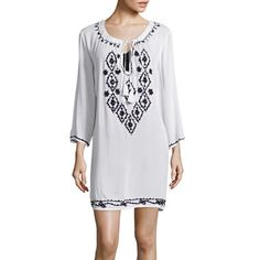 jcpenney.com | Raviya Long-Sleeve Embroidered Tunic Swim Cover-Up