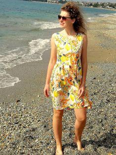 Sicilian pleated dress with designer inspired lemon print | Etsy Summer Dresses For Women, Girls Dresses, Mother Daughter Dresses Matching, Box Pleat Skirt, Lemon Print, Crepe Fabric, Sicilian, Tank Dress, Summer Clothes