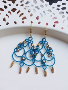 Chandelier tatted earrings made in Italy | beadwork | tatting jewelry | lightweight filigree | Christmas present | denim and gold | textile