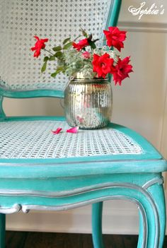 A gorgeous chair refinished in Florence Chalk Paint® decorative paint by Annie Sloan | By Kristen of Sophia's Decor