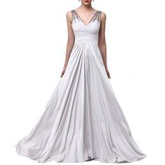 Fashion Plaza Chiffon V-neck Bridesmaid Formal Evening Prom Party Dress D0183 (US12, White)