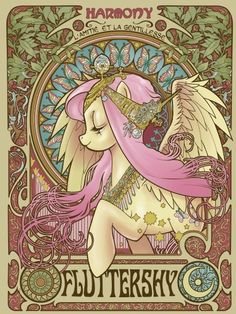 alphonse mucha, fluttershy, friendship is magic, my little pony ~ I love this mix of mucha and pony!