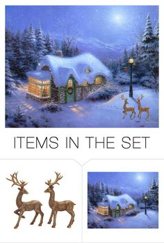"""""""Winter Deer"""" by deborah-strozier ❤ liked on Polyvore featuring art and modern"""