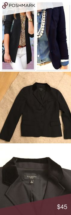 Talbots wool blazer Classic black blazer, staple item in every closet. Brand new, never wore, lost weight, too big for me. 99% wool and 1% spandex, fabric is light weight, Talbots season-less wool line product, unique collar with a velvet touch. Talbots Jackets & Coats Blazers