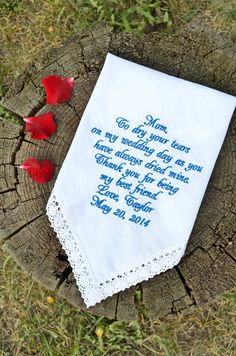 Wedding Gifts For Parents, Best Wedding Gifts, Gifts For Mom, Wedding Stuff, Bride And Groom Gifts, Wedding Handkerchief, Parent Gifts, Personalized Wedding Gifts, Mother Gifts